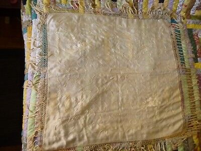 Lovely antique embroidered silk canton manton manila fringed cream piano shawl