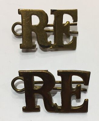 Pair of WW2 BRITISH RE ROYAL Engineers COLLAR PINS BADGES