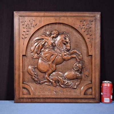 *Large French Antique Carved Architectural Panel Door Solid Walnut Wood