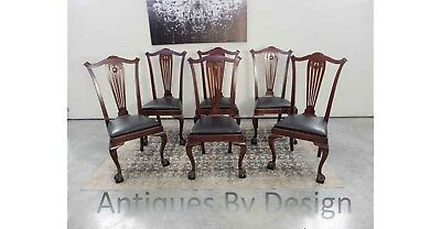 Set ~ 6 Victorian Mahogany Chippendale Style Ball & Claw Foot Dining Chairs
