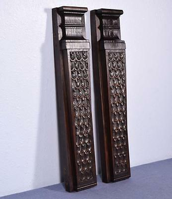 """*19"""" Pair of French Antique Trim Posts/Pillars Highly Carved Oak Wood"""