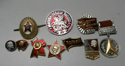 Vintage Russian Soviet Union USSR Russia Collectible Pins Lot of 10