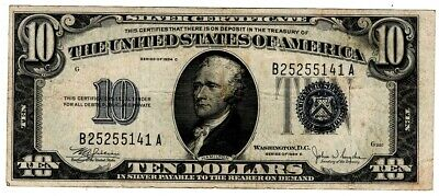 1934 SERIES $10 Silver Certificate,Large Blue Seal,  F - XF  old money