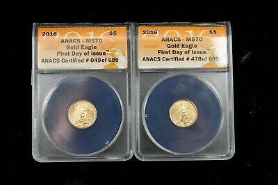 2 x 2016 1/10 oz American Gold Eagles ANACS MS70 1st Day Issue