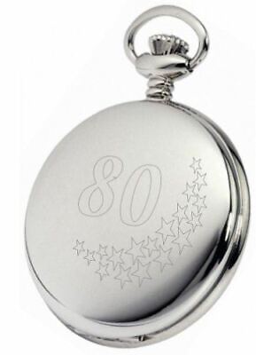 Personalised Silver 80Th Birthday Stars Pocket Watch With Chain Pw206