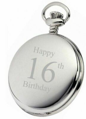 Personalised Silver 16Th Birthday Pocket Watch With Chain Pw193