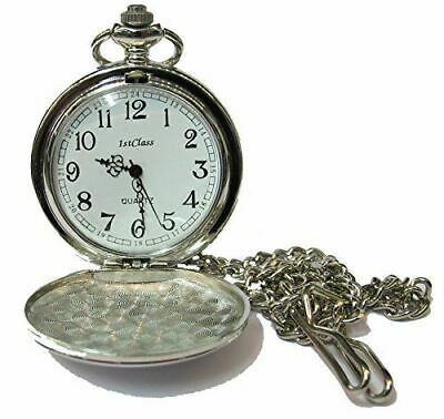 1stclass PERSONALISED SILVER POCKET WATCH WITH CHAIN & FREE VELVET POUCH PW200