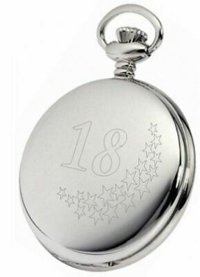 Personalised Silver 18Th Birthday Stars Pocket Watch With Chain Pw201
