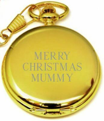 Personalised Gold Merry Christmas Mummy Pocket Watch Pw173