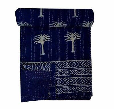 Kantha Quilt Indigo Blue Cotton Throw Blanket Hand block print Antique Bedspread