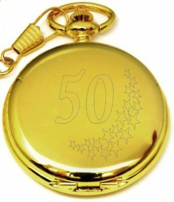 Personalised 50Th Birthday Stars Pocket Watch With Chain Gold Pw203