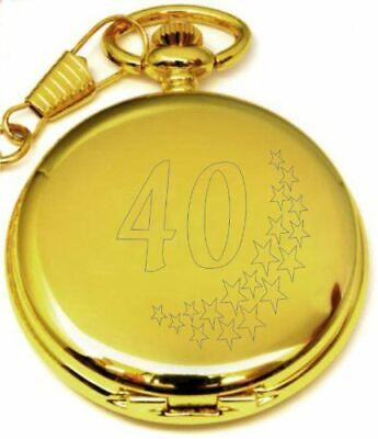 Personalised 40Th Birthday Stars Pocket Watch With Chain Gold Pw202