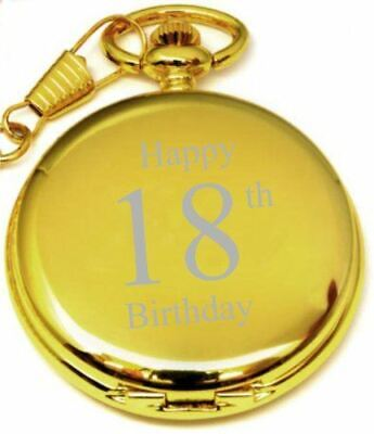 Personalised 18Th Birthday Pocket Watch Gold With Chain Pw194