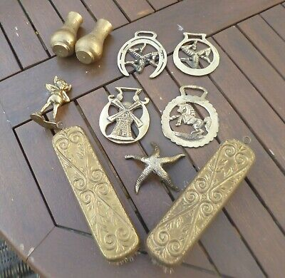 Joblot of Antique & Vintage Brass Items-Clothes Brushes, Horse Brasses & More!