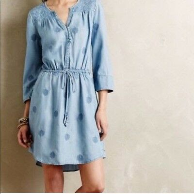 8985fa12785d Anthropologie Holding Horses Women's Size XS Blue Riley Chambray Shirt Dress
