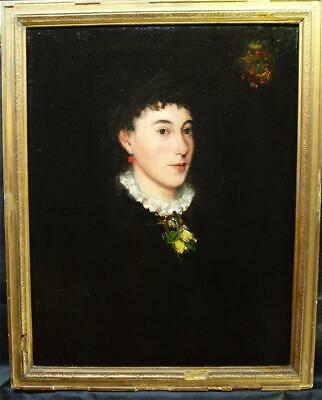 FINE 18th Century PORTRAIT YOUNG LADY with FLORAL BROOCH Antique Oil Painting