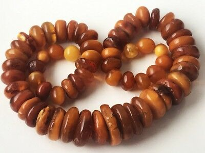 RARE!Natural Antique Baltic Vintage Amber OLD BUTTERSCOTCH  BEADS Necklace  84gr