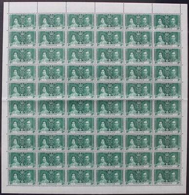 NYASALAND: 1937 Full 10 x 6 Sheet ½d Coronation Examples - Full Margins (22091)