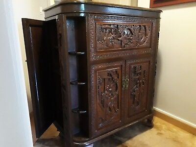 Oriental antique cabinet - hand carved