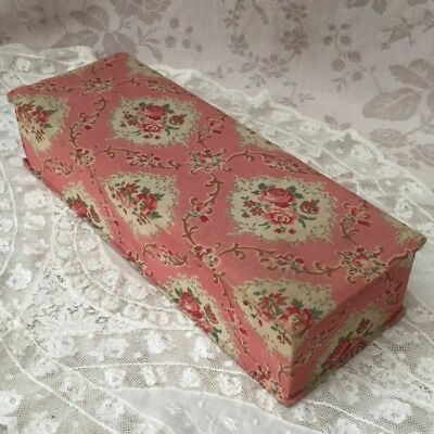 Vtg FRENCH Timeworn PINK BOUDOIR / Sewing BOX Rose Floral Fabric covered ca 1920