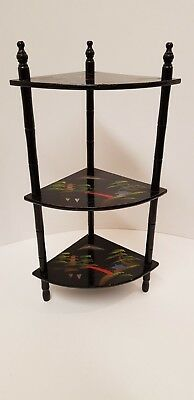 Vintage Japanese Style Black Lacquered Shelves Whatnot