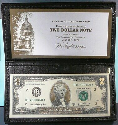2003 Gold Leaf $2 Two Dollar Bill Federal Reserve Note Uncirculated Monetary