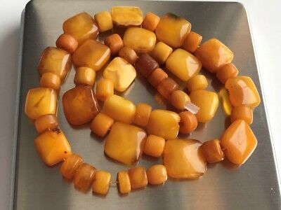 RARE! Natural Antique Baltic Vintage Amber OLD BUTTERSCOTCH  BEADS Necklace