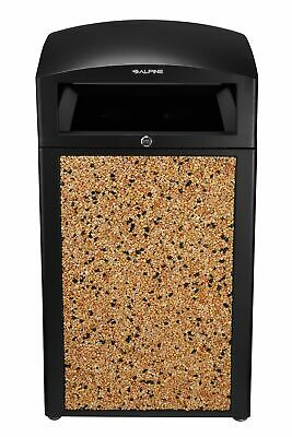 Alpine Industries Stone 40 Gallon Outdoor Recycle Bin Commercial Trash Can