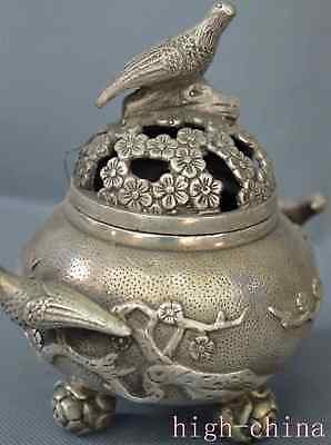 Chinese Miao Silver Carve Flower Magpie Bird King Use Tibet Old Incense Burner