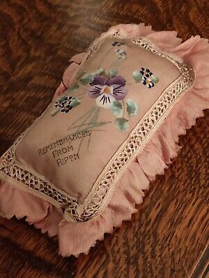 Edwardian Hand Painted Silk Rememberence Cushion Possibly Suffragette Related