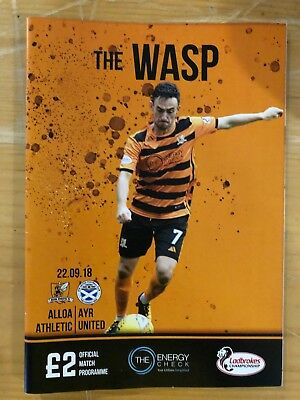 Alloa Athletic v Ayr United - Scottish Championship Programme + Team Sheet