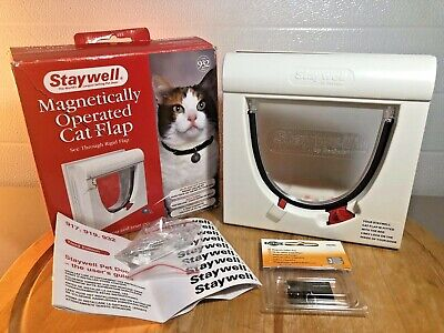Staywell Magnetic Operated Cat Flap Pet Door with Collar Magnet Entry & Locking