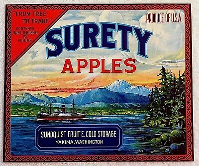 Look! Independent Red Border Pear Crate 1940 Mint Label Washington