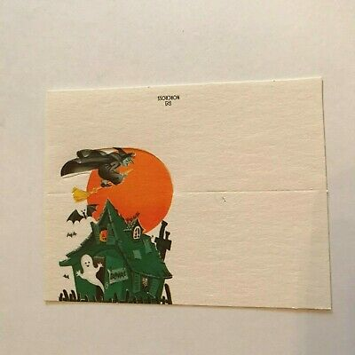 Vintage Cardstock Halloween Placecard Name Card Haunt House Ghost Witch Norcross