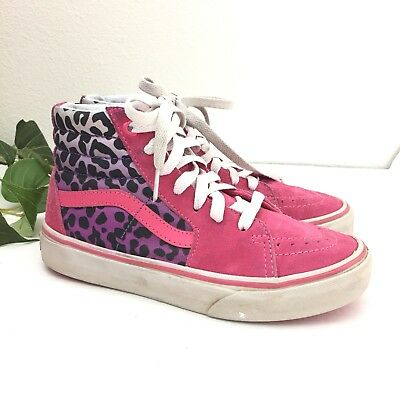 38c80ebde2 VANS GIRLS KIDS Sk8Hi Top Sneakers Shoes Pink Cheetah Youth Size 2.5 ...