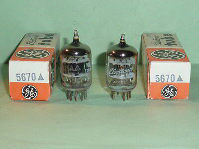 GE  5670 2C51 396A 6n3p 5 Star Tubes-Matched Pair, Tested NOS/NIB, Matched Codes