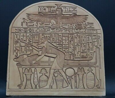ANCIENT EGYPTIAN ANTIQUES Stela ISIS - ANUBIS Mummification Process 1419-1360 BC