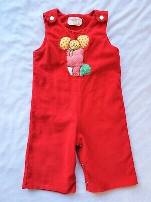 Overalls Baby Boy Girl Toddler Child Red Corduroy 18-24 Mo Vintage 1970s Retro