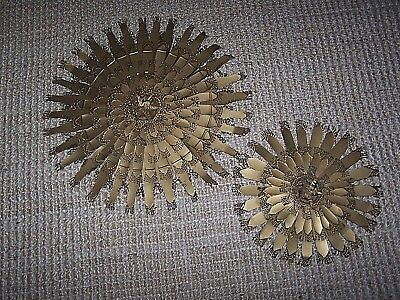 Pair Starburst Sculptures Handmade From Metal Tin Cans Bronze Paint Wall Hanging