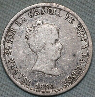 1850 Spain 2 Silver Reales Isabella II~ Free US Shipping