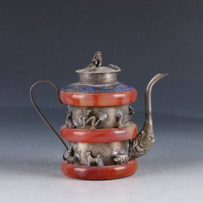 Chinese Exquisite Silver copper & Jade Handmade Carving (12 生肖 )Teapot