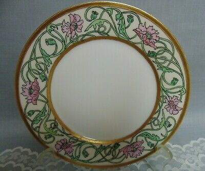 Antique Hand Painted Haviland Plate Heavy Gold Beading Pink Poppies
