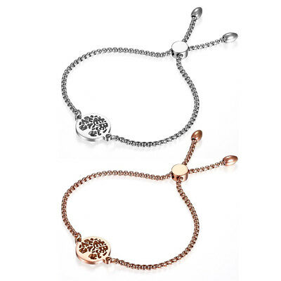 Women's Stainless Steel Freely Adjustable Charm Hollow Tree Bracelet Chain Gift