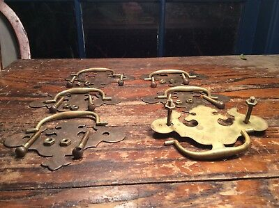 OLD ColoniaL CHIPPENDALE Drawer FURNITURE Pulls Set Of 6. All. Brass
