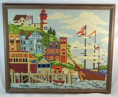 "Folk Art Vintage Needlepoint Nautical Seaside Art 20"" x 16.5"" Detailed Framed"