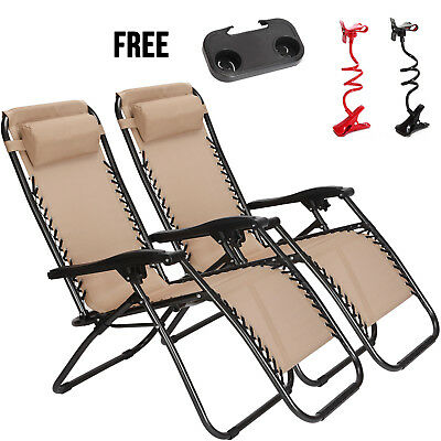 Zero Gravity Chairs Folding Lounge Patio Outdoor Recliner Beach Chair Set Of 2