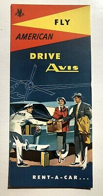 1955 Avis Car Rental  Fly and Drive Travel Brochure
