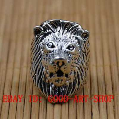 Chinese Tibetan Silver Hand-carved Lion Head Shape Rings G71