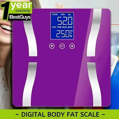 SOGA Purple Digital Body Fat Scale Bathroom Scales Gym Weight Glass Water LCD