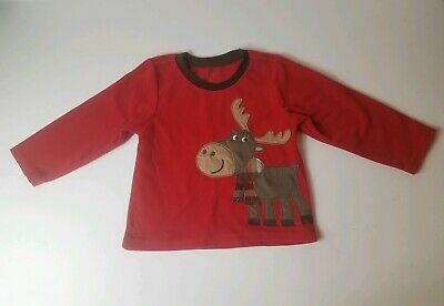 Carters Baby Boy Toddler 2T Red Long Sleeve Moose Shirt